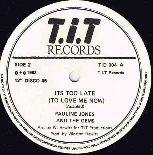 PAULINE JONES-it's too late